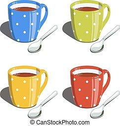 jogo, copo, chá, spoon., vetorial, ilustrações