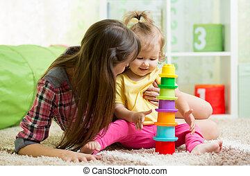jogo, copo, mãe, junto, brinquedos, menina, criança