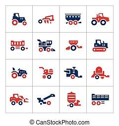 jogo, cor, ícones, de, maquinaria agrícola
