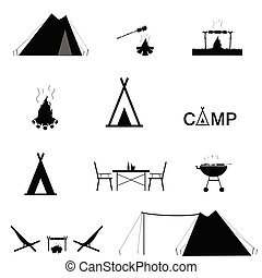 jogo, cor acampando, ilustração, pretas, ícone