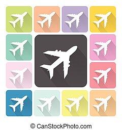 jogo, cor, avião, ilustração, vetorial, ícone