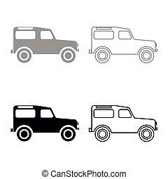 jogo, cor, cinzento, pretas, veículo, estrada, ícone