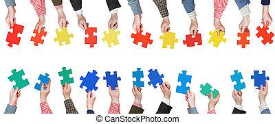 jogo, cor, confunda pedaços, em, pessoas, mãos
