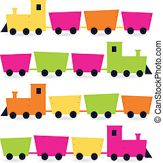 jogo, cor-de-rosa, coloridos, ), (, isolado, laranja, verde, trens, branca