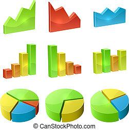 jogo, cor, gráfico, isolado, fundo, vetorial, branca, ícone,  3D