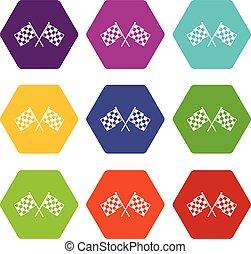 jogo, cor, hexahedron, checkered, bandeiras, correndo, ícone