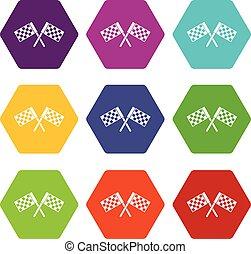 jogo, cor, hexahedron, cruzado, bandeiras, ícone, chequered