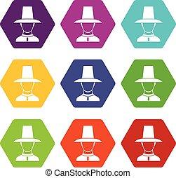 jogo, cor, hexahedron, uniforme, soldado, coreano, ícone