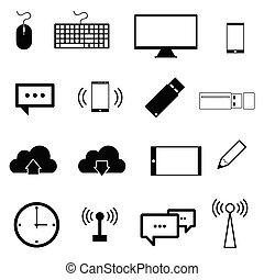 jogo, cor, ilustração, computador, pretas, ícone