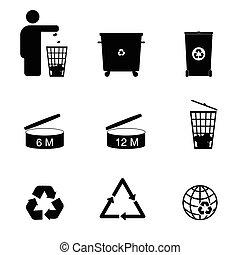 jogo, cor, ilustração, pretas, recicle, ícone