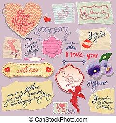 jogo, coração, vindima, valentines, etiquetas, calligraphic, textos, papeis, dia, design.