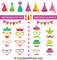 jogo, coroas, óculos, máscaras, -, aniversário, vetorial, photobooth, bigodes, partido, lábios, chapéus