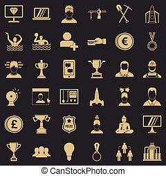 jogo, corporação, estilo, ícones simples