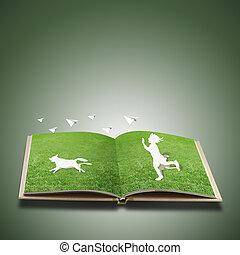 jogo, corte, crianças, papel, capim, livro