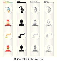 jogo, cosmético, cabelo, tratamento, mask., pele, monocromático, estilo, ícones, pretas, estoque, símbolo, web., lavando, cobrança, ilustração, facial, caricatura, cuidado, creme, esboço, vetorial, massagem