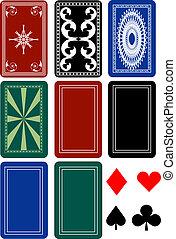 jogo, costas, cartão, convés