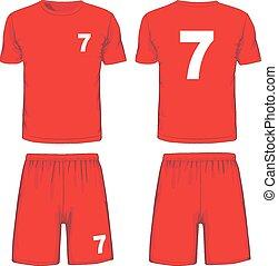 jogo, costas, uniforme, vetorial, frente, vista., futebol