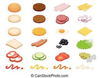 jogo, costeleta, isolado, hambúrguer, salada, ovo, tomate, isometric, rabanetes, ingredientes, cogumelos, experiência., pães, pimenta branca, cebola, pepino, presunto, batata, vetorial, construtor, queijo