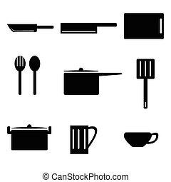 jogo, cozinha, ícone