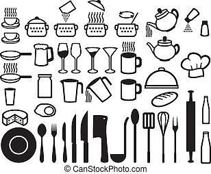 jogo, cozinha, ícones