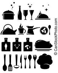 jogo, cozinha, ferramentas, silueta