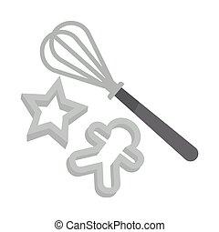 jogo, cozinhar, gostosa, gingerbread, ferramentas, natal, ...