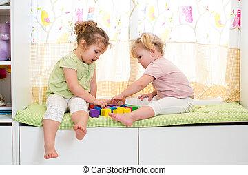 jogo, crianças, dois, junto, dentro, irmãs