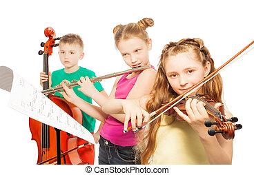 jogo, crianças, Instrumentos, fundo, branca,  musical