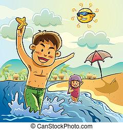 jogo, crianças, praia