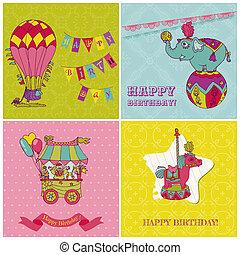 jogo, crianças, -, saudação, aniversário, vetorial, cartões