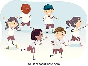 jogo, crianças, stickman, ilustração, uniforme, executando