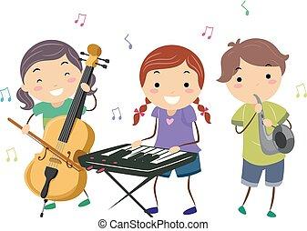 jogo, crianças, stickman, instrumentos, música jazz