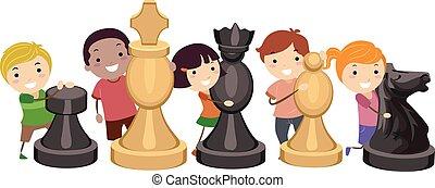 jogo, crianças, stickman, xadrez