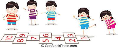 jogo, crianças, tocando, hopscotch