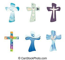 jogo, cristão, crosses., modernos, isolado, cobrança, crucifixos, símbolos, vetorial, cristianismo, religiosas, signs.