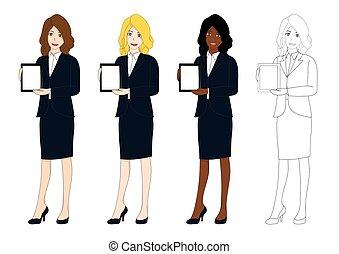 jogo, cute, mulher negócio, apresentação, tablet.