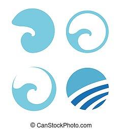 jogo, de, água, onda, logotipos