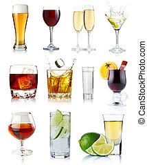 jogo, de, álcool, bebidas, em, óculos, isolado, branco