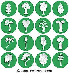 jogo, de, árvore, ícones