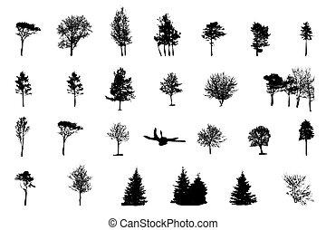jogo, de, árvore, silueta, isolado, branco, backgorund., vecrtor, ilustração