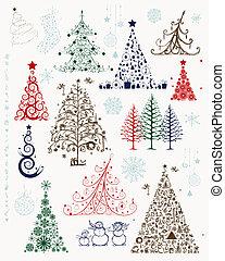 jogo, de, árvores natal, e, decorações, para, seu, desenho