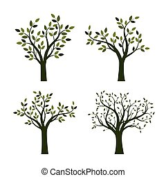 jogo, de, árvores verdes, com, leaves., vetorial, illustration.