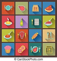 jogo, de, ícones alimento, em, apartamento, desenho