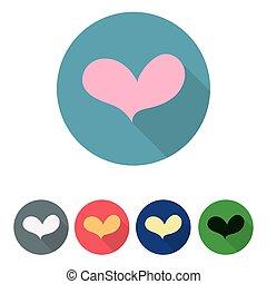 jogo, de, ícones, com, heart., vetorial, illustration.
