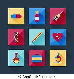 jogo, de, ícones médicos, em, apartamento, desenho, style.