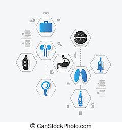jogo, de, ícones médicos