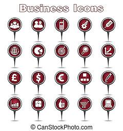 jogo, de, ícones negócio