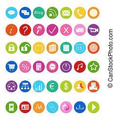 jogo, de, ícones, para, site web