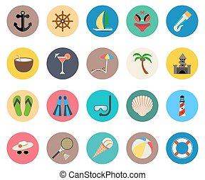 jogo, de, ícones, verão, férias praia