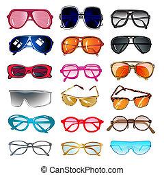 jogo, de, óculos de sol, e, óculos, para, correção visão